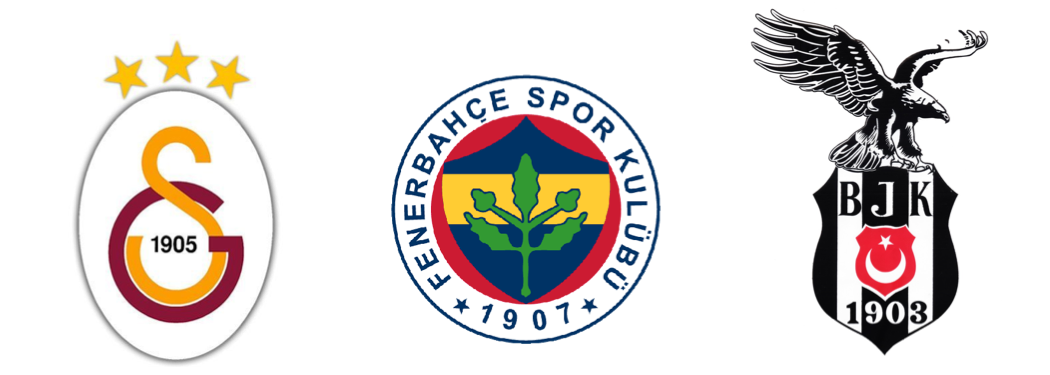 The emblems of the clubs of Galatasaray, Fenerbahçe and Besiktaş