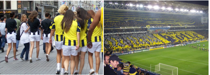 Supporters making their way to the stadium and the stadium atmosphere of Fenerbahce